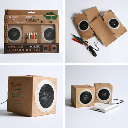 thedailywhat :      Buy This:   DIY Speakers .   Two collapsible mini-speakers made from 70% post-consumer recycled material. Comes with six colored pencils for personalization.   [ via .]