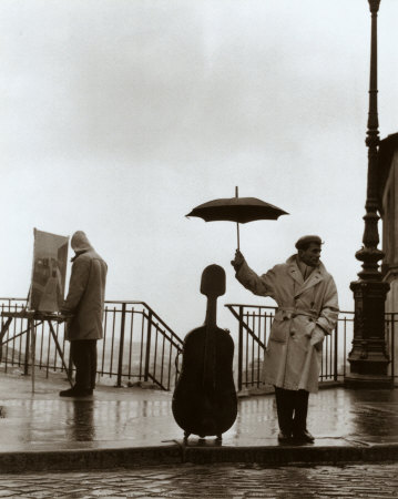 iheartmyart :   Willy Ronis, Musician in the Rain