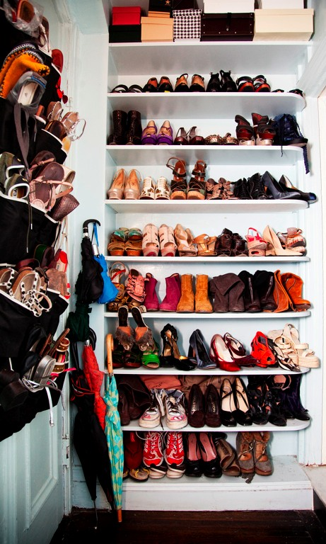 sally singer at home in new york city - via the selby    there is no such thing as too many shoes!