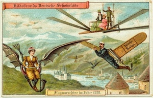 (via  Postcards of the year 2000, c.1900 - Retronaut )   Personal flying machines, as image from the future 110 years ago. We are not there yet though…