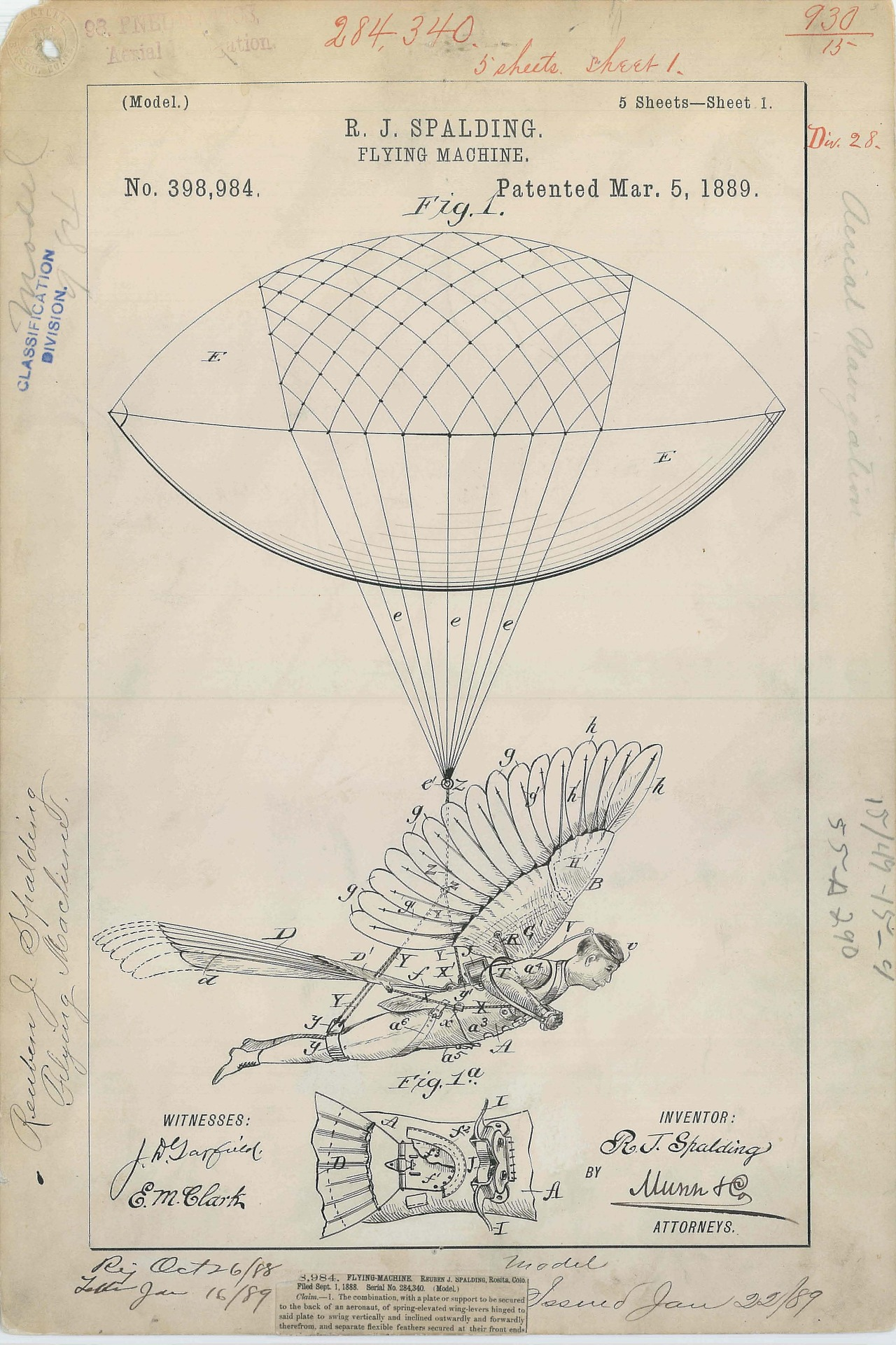 todaysdocument :      Patent Drawing for R. J. Spalding's  Flying Machine  , 03/05/1889        Innovation