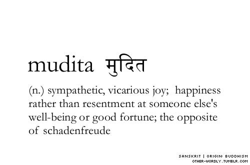 theantidote: pronunciation | mU-dE-ta sanskrit script | मुदित (viaother-wordly:)