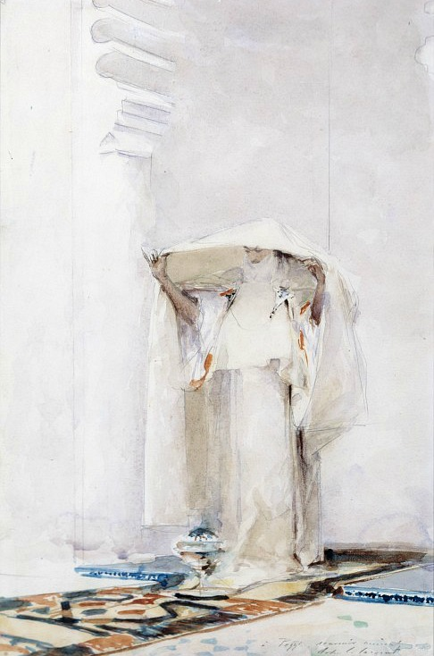 whitehotel :     John Singer Sargent,  Incensing the veil  (1880)