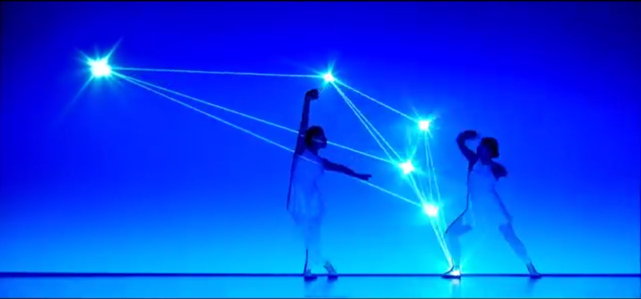 This is one of my inspirations for the year: to combine elements of dance, performance art, music, technology, light, music and more, to create pure magic.      Japanese troupe 'Enra' .      Performamce & Choreography :Saya Watatani , Maki Yokoyama Director : Nobuyuki Hanabusa Animator : Seiya Ishii , Nobuyuki Hanabusa Music