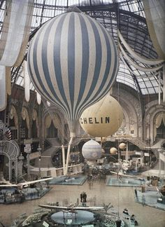 The first air show at the Grand Palais in Paris, France. September 30th, 1909. Photographed in Autochrome Lumière by Léon Gimpel.  via Pamela Hernández