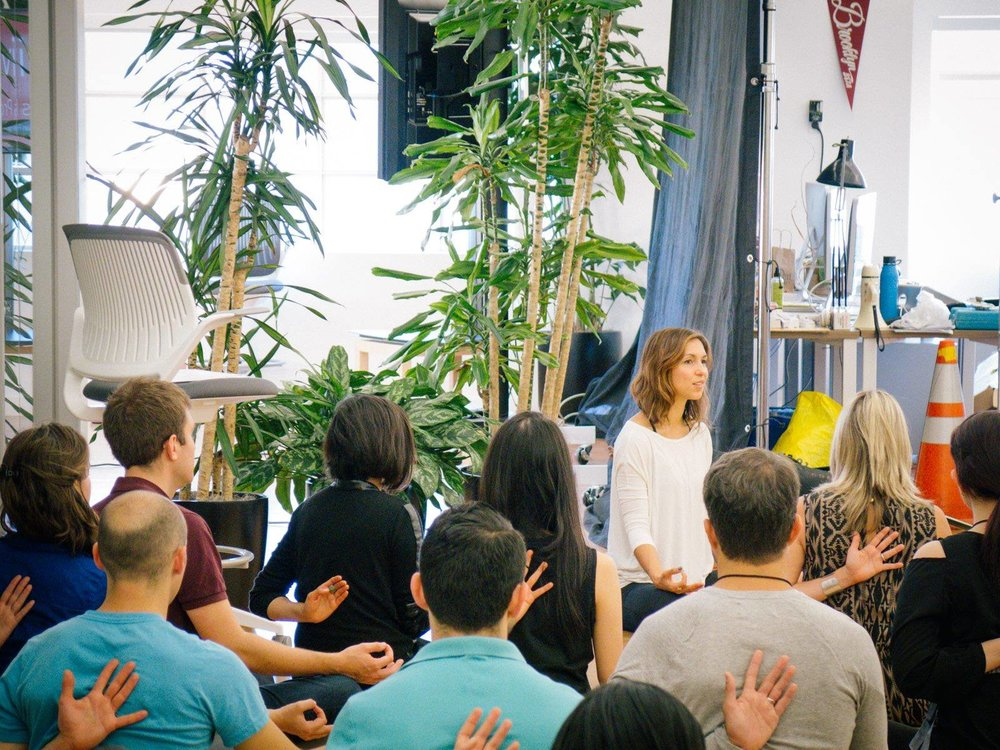 Teaching yoga & meditation at HIVE Leadership Program, SF 2013