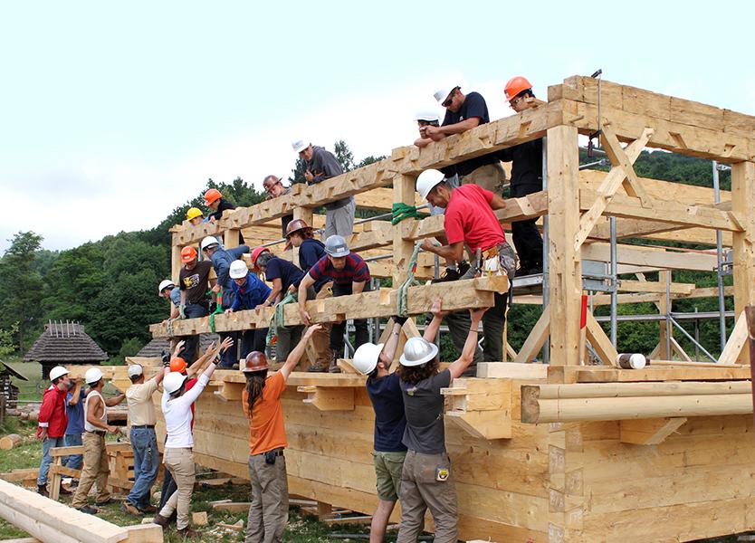 Building the frame in Sanok, Poland