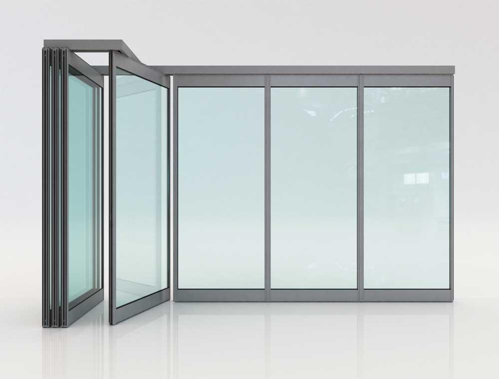 ΓΥΑΛΙΝΕΣ ΠΤΥΣΣΟΜΕΝΕΣ ΠΟΡΤΕΣ F4   Κατάλληλο κυρίως για μεγάλα οικοδομικά ανοίγματα όπου είναι επιθυμητή η επιπλέον μόνωση, αντοχή και ασφάλεια.