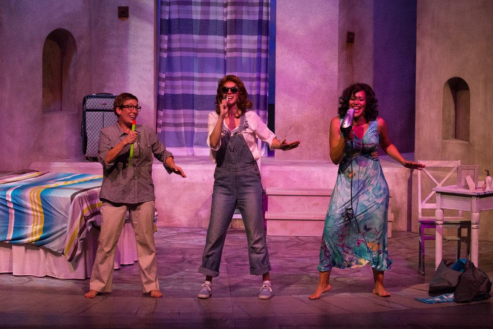 "Janet Gigliotti Nieuwenhuis (Rosie), Cailin Stadnyk (Donna), and Alana Hibbert (Tanya) in ""Mamma Mia"" (Western Canada Theatre)  * Photo by Barbara Zimonick"