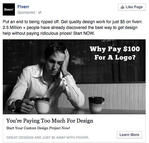 An actual ad from Fiverr on Facebook.