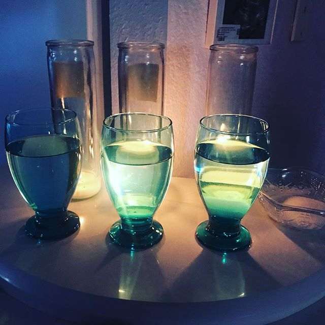 Saw this shrine while showing houses. Three water glasses, three candles and a bowl of sugar or maybe salt. Can anyone fill me in on why? #iheartdenverhomes #religiouswater #shrinetonoone