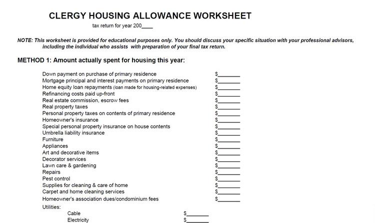 Clergy Housing Allowance Worksheet Plus United Church Church ...
