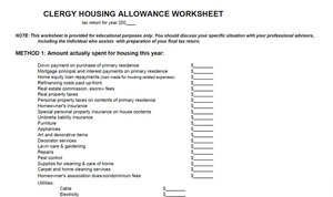 Printables Clergy Housing Allowance Worksheet housing allowance worksheet davezan clergy davezan