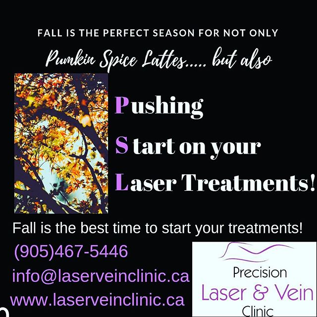 Let's get rolling on your fall/winter sessions!  Contact us for a free consultation!  #laserhairremoval #hairremoval #lasertreatment #laserskinrejuvenation #lasergenesis #veintreatment #warttreatment #skintagremoval #pumpkinspicelatte  #burlington #oakville #waterdown #skintreatment #healthyskin #veins #beautycare #fireandicefacial