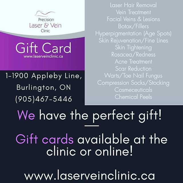 We have the best gift for anyone you need to buy for! #laserhairgiftcard #burlingtongiftcard #burlingtonlaserclinic #skintreatmentgiftcard #giftcard #bestgiftcard #bestchristmasgift #veintreatment #burlington #oakville #hamilton #precisionlaser #bestlaser #bestlaserteam #itsthemostwonderfultimeoftheyear