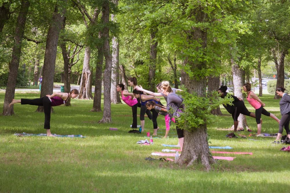 Warrior 3 Yoga Pose at 3Tree Yoga's outdoor yoga class in Fort Worth Texas #FWSUNRISEYOGA