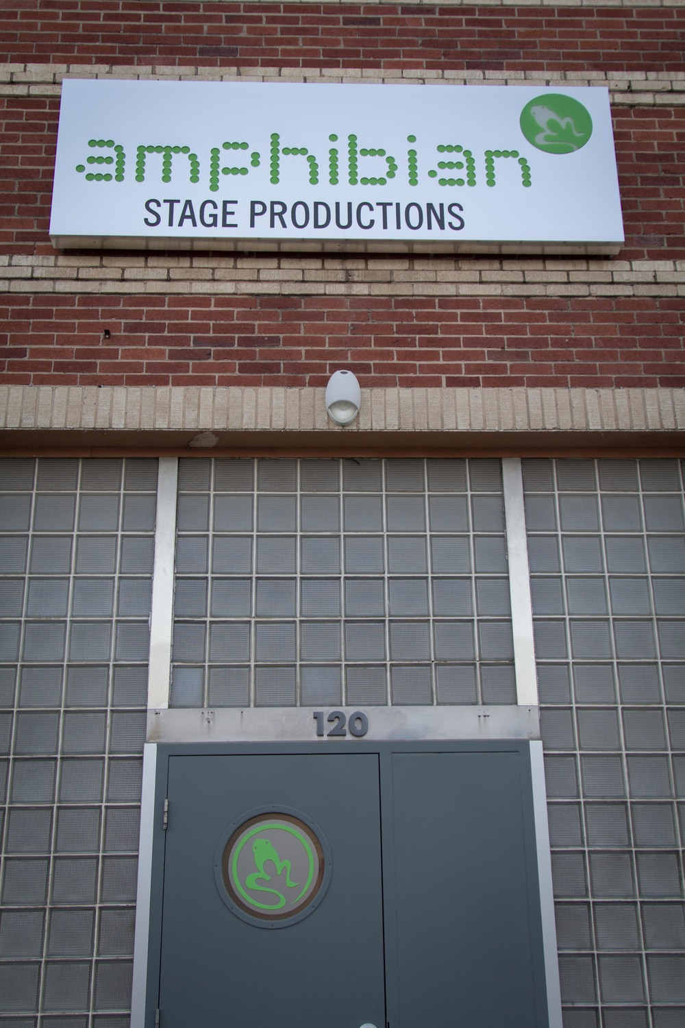 Amphibian Stage Productions front door. Join us here for yoga on Tuesdays at 7:00pm.