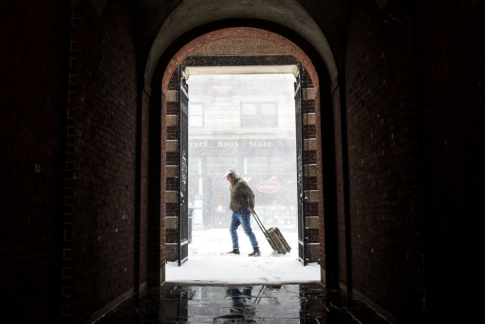"""A view of heavy snowfall during the """"Bomb Cyclone"""" on Massachusetts Ave in Cambridge on Jan. 04, 2018."""