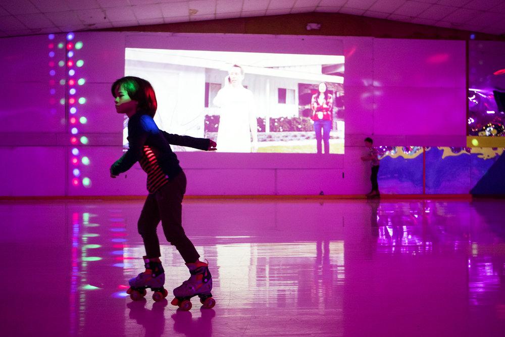 Justen Ling, 7, of Natick, roller skates on the rink at Roller Kingdom in Hudson on Dec. 15, 2018.