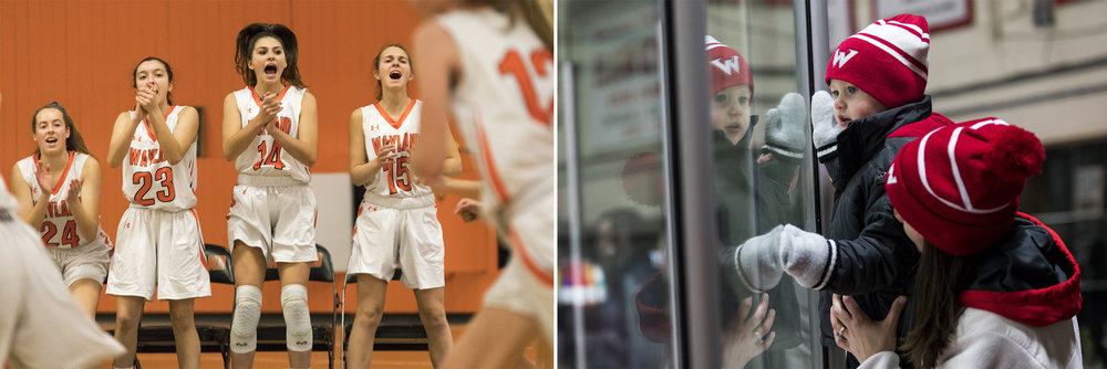 (Left) Wayland juniors Laura Foley and Isabella Arenas, freshman Sammy Johnson and senior Sam Neuman cheer for their teammates from the bench during the game against Lincoln-Sudbury in Wayland on Dec. 11, 2018. (Right) Emily McCue holds up Jack McCue, 2, both of Waltham, as he watches the game against Newton at Veterans Rink in Waltham on Dec. 10, 2018.