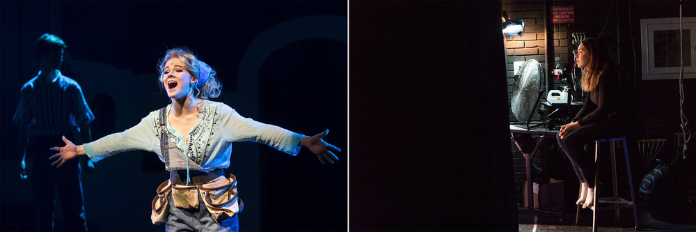 """(Left) Senior Amanda Fawell performs """"Mamma Mia"""" as Donna during a dress rehearsal for Mamma Mia at Framingham High School on Dec. 4, 2018. (Right) Sophomore Cassie Quinn, a backstage singer, watches the soundcheck before a dress rehearsal for Mamma Mia."""