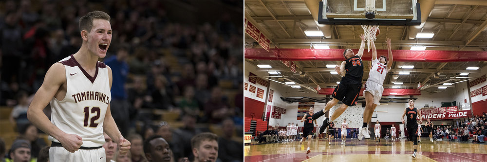 (Left) Algonquin senior captain Sean Cullen celebrates a point during the game against Belmont at TD Garden on Jan. 06, 2019. (Right) Newton South senior captain Salman Cheema goes up for a basket during the game against Natick in Newton on January 28, 2019.