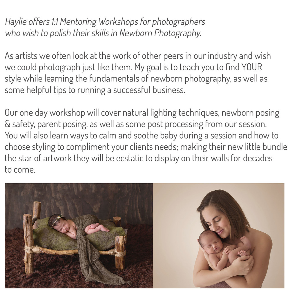 Gold Coast Newborn Workshops mentoring haylie D photography