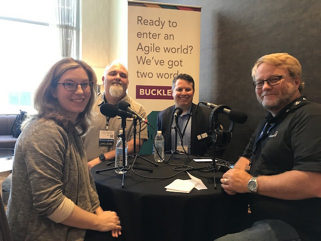 Photo by SolutionsIQ - Allison Pollard, Chris Shinkle, Leon Sabarsky, and Howard Sublett at Keep Austin Agile 2017