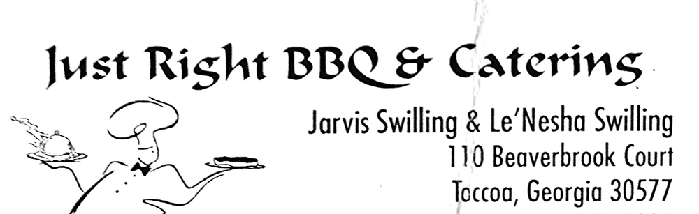 JUST RIGHT BBQ Highly recommended by Mountain Laurel Farm. Call us at (678) 532-8194 to arrange with them.