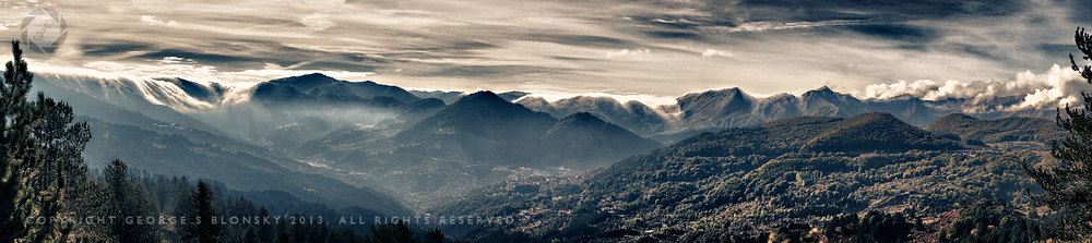 Panoramic image of Metsovo created during our autumn landscape photography workshop and tour of Meteora and Northern Pindos