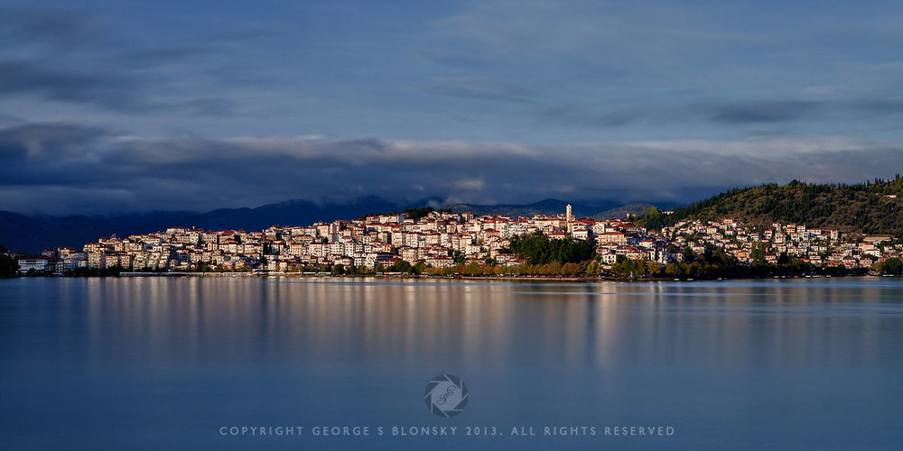 photograph of Kastoria Town in the early evening light created during our autumn landscape photography workshop and tour of northern Greece