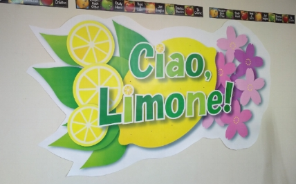 イタリアのリモーネ市と日本をイメージして壁を飾り付けました。