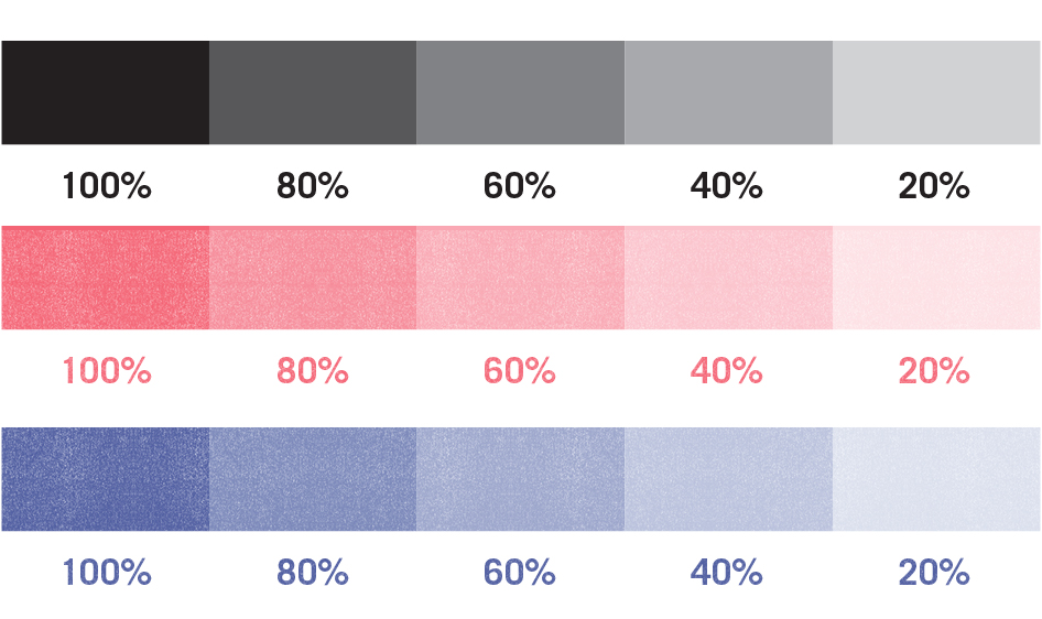 Risograph Colour variation is created by altering the shade of grey in your file.
