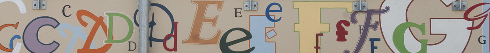 Detail from The Alphabet mural, Artarmon Public School.