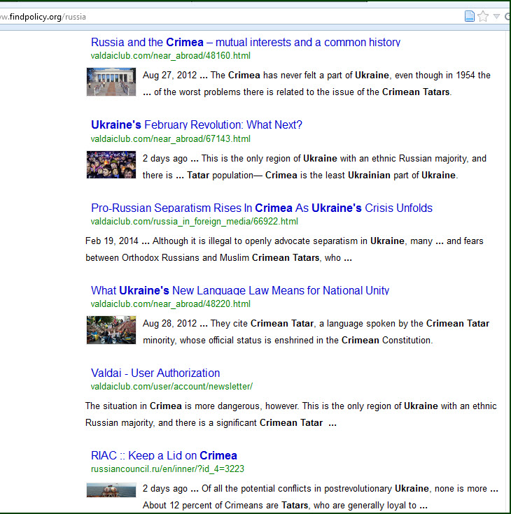 Screenshot of search for Crimea Ukraine Tatars. As usual, make your search as specific as possible.