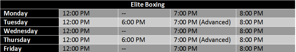 Elite Boxing Schedule at American Top Team West Palm Beach