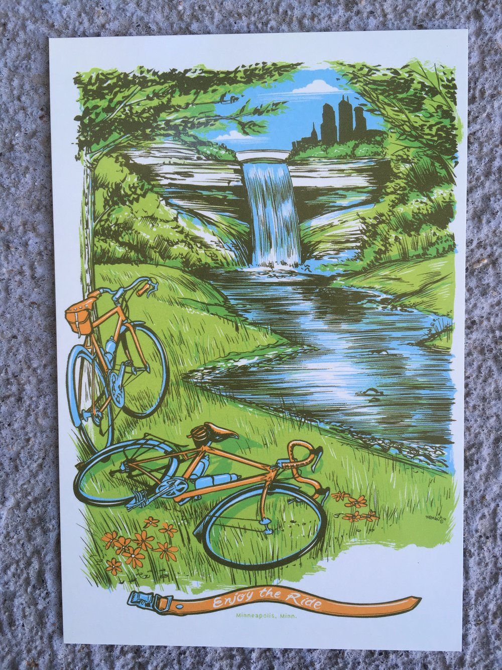 This one is titled Enjoy the Ride and depicts Minnehaha Falls.