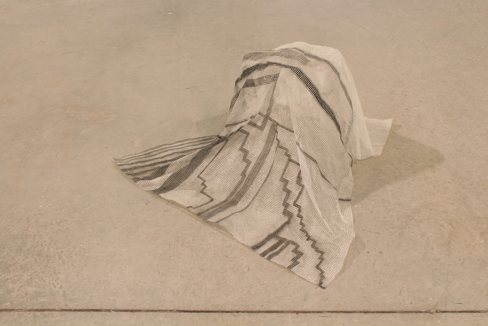 "Untitled  (floater) , 2012, grid tissue, charcoal, glue, H 15"" x W 30"" x D 30"""