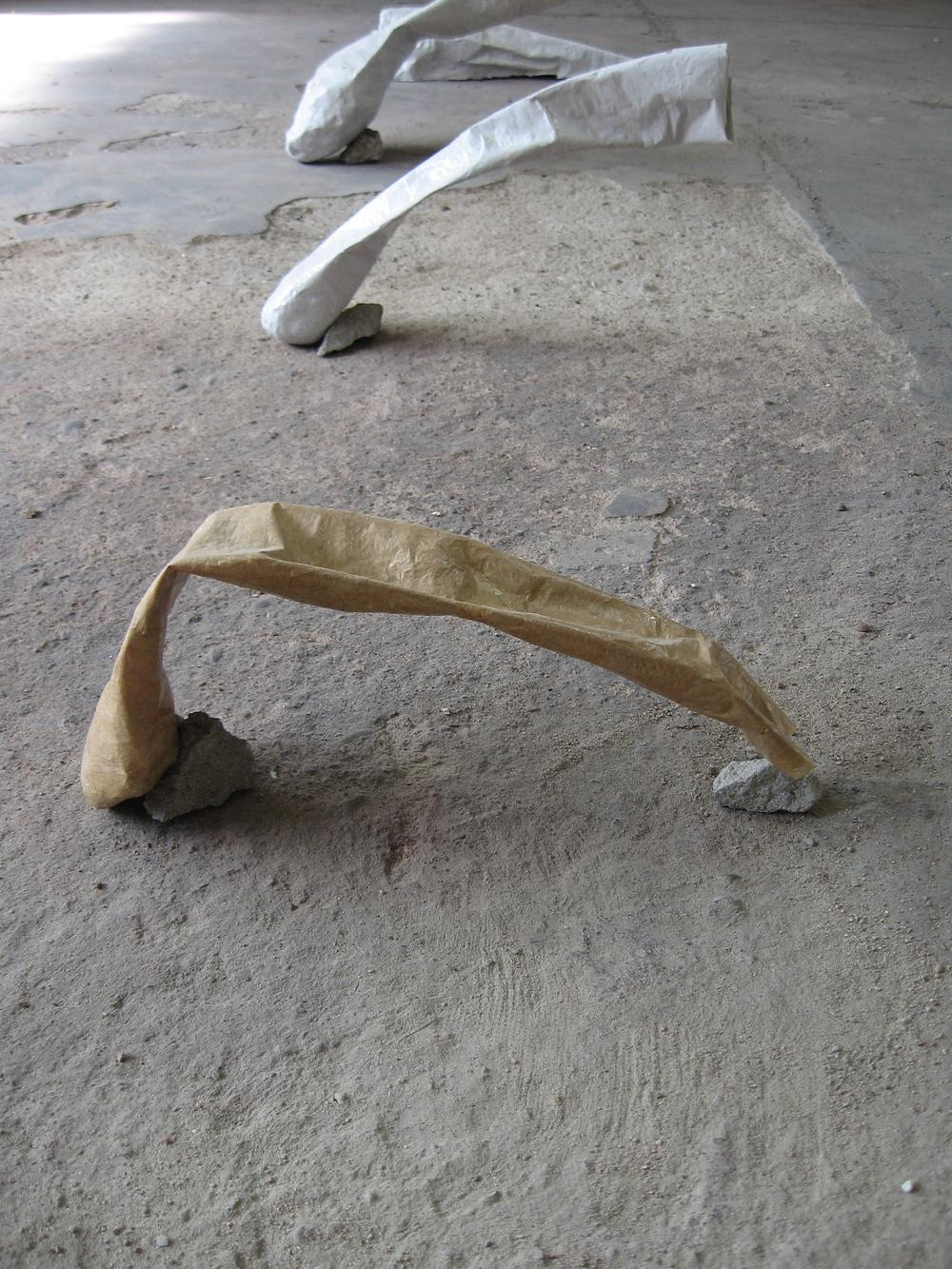 """Cannon 5 (extended rock study ), 2010, r  ocks, papier-mâché,  L 18"""" x W 5"""" x H 7"""""""