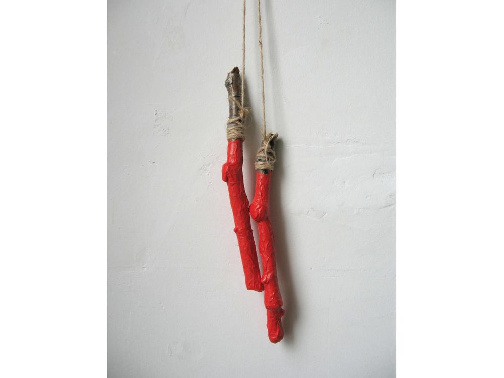 """Nunchucks , 2011, sticks, twine, papier mâché, acrylic, 24"""" x 4"""""""