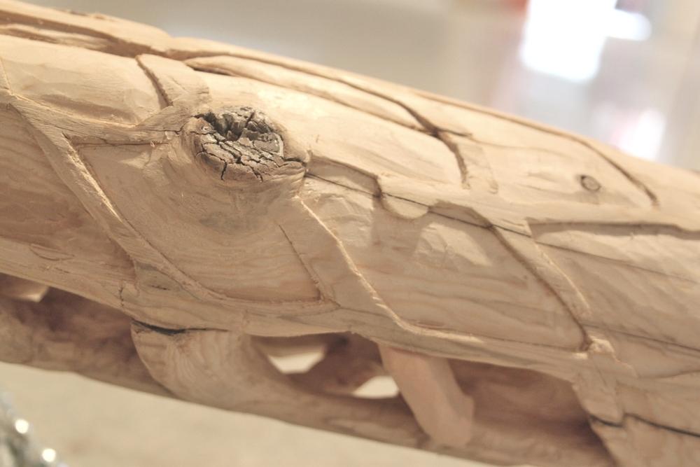"Untitled (post) detail, 2013, eastern white cedar, high density foam, chain, papier-mâché, L 3.5' x H 12"" x W 6"""