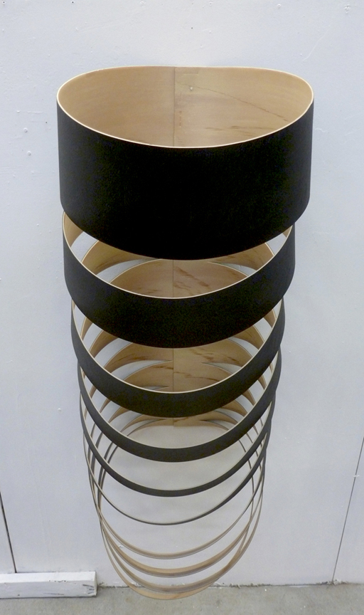 "Untitled ( sliced birch ply ), 2014, acrylic on faux leather foam, H 48"" x W 30"" x D 20"""