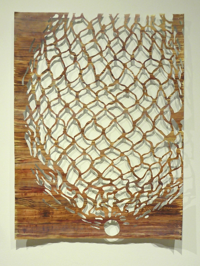 "Untitled  (Net 2) , 2014, acrylic and casein on hand-cut paper, L 24"" x W 18"""