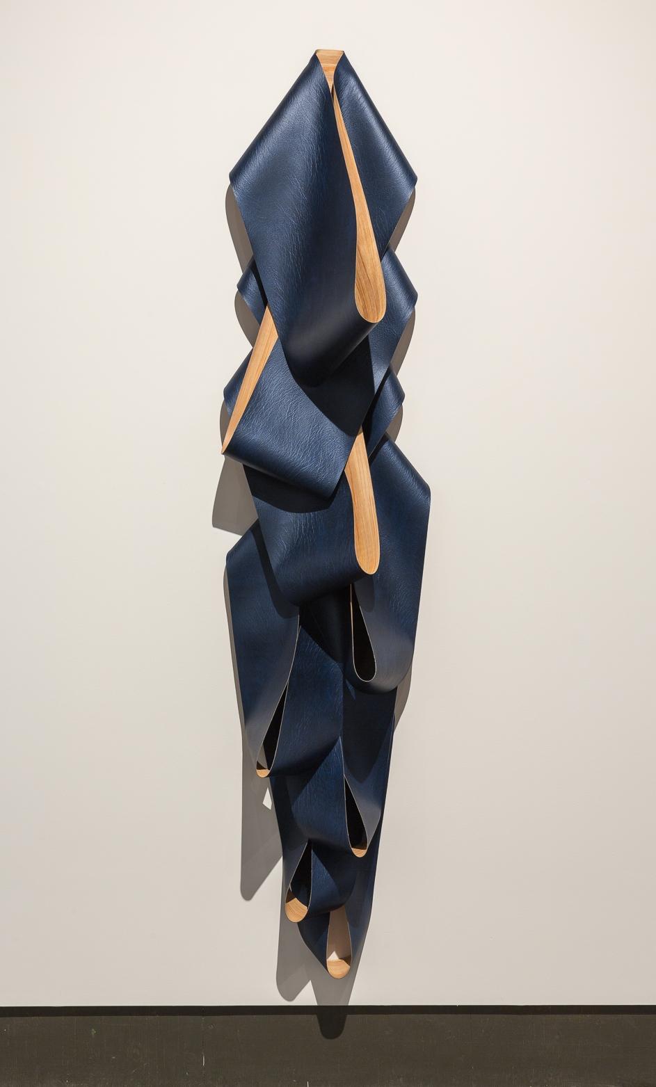 Blue Double Buck , 2015, acrylic on sliced faux leather vinyl. Photo: © Scott Lee