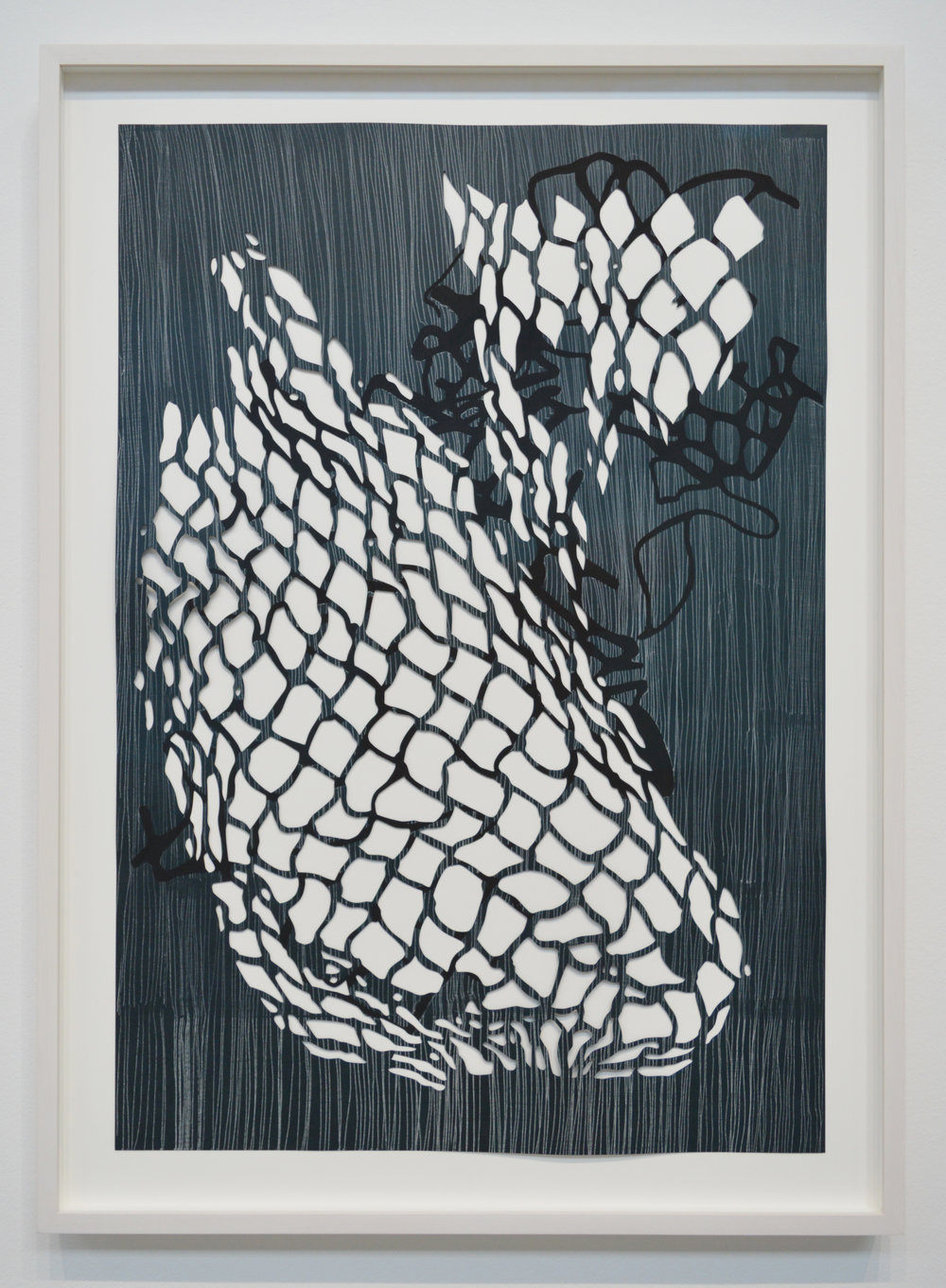 "Net Tangle #5 , 2016, white transfer, casein on hand-cut paper, 21.5"" x 31"". Photo: Aaron Guravich"