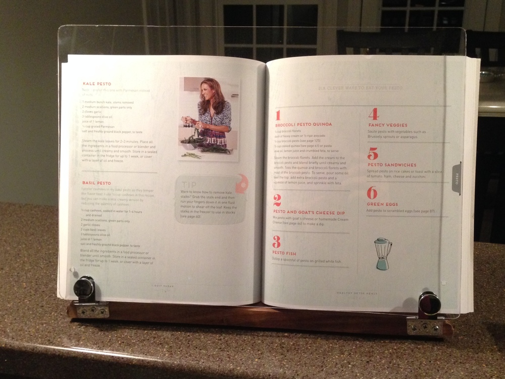 I Quit Sugar Pesto recipe page (in my sweet cook book stand from ETSY)