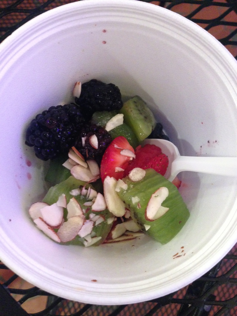 Fro-Yo WITHOUT the Yo... fruit & almond slivers - delicious :-) #whole30problems