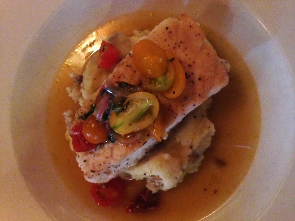 Birthday dinner: Kill Devil Grill - Seared Halibut + * mashed potatoes + tomato salad + saffron broth