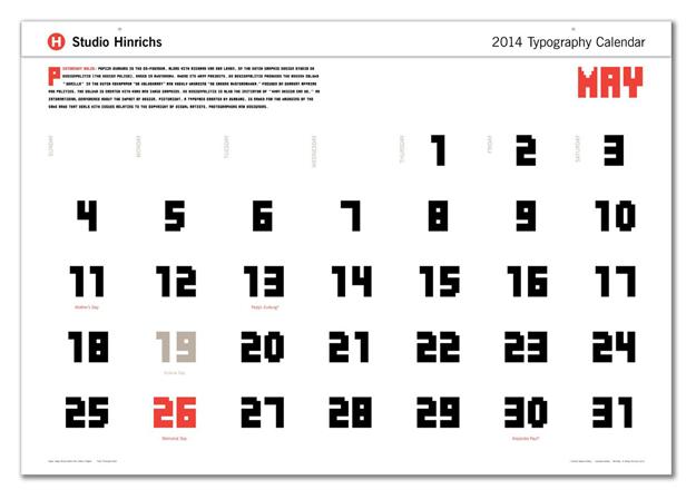Typography Calendar 2014