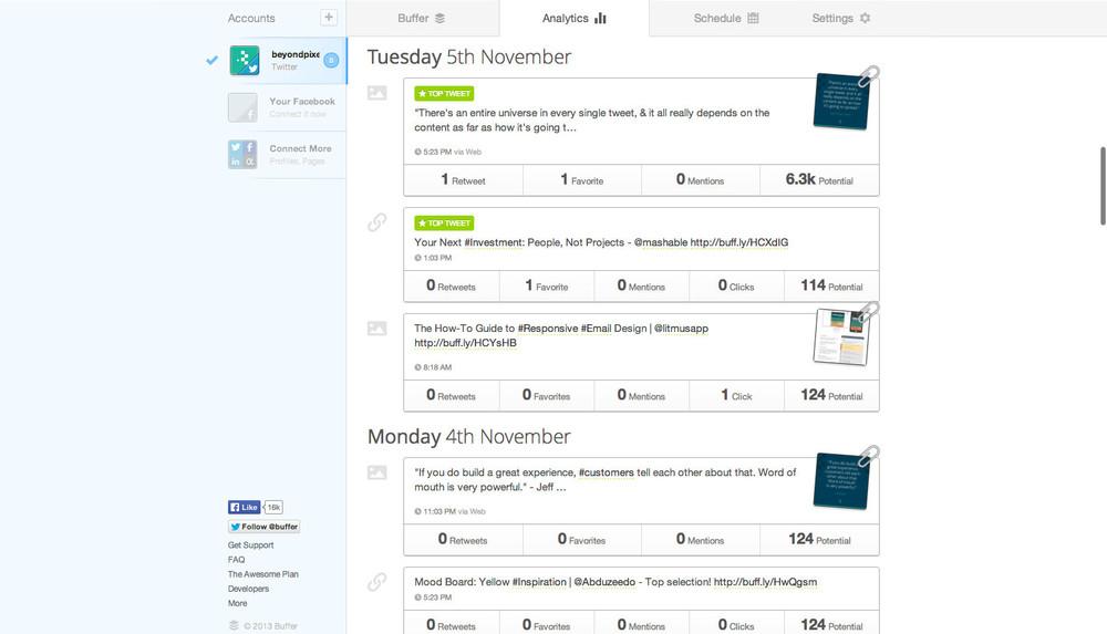 Buffer social media analytics